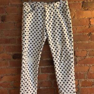Polka-Dot Patterned Skinny Jeans